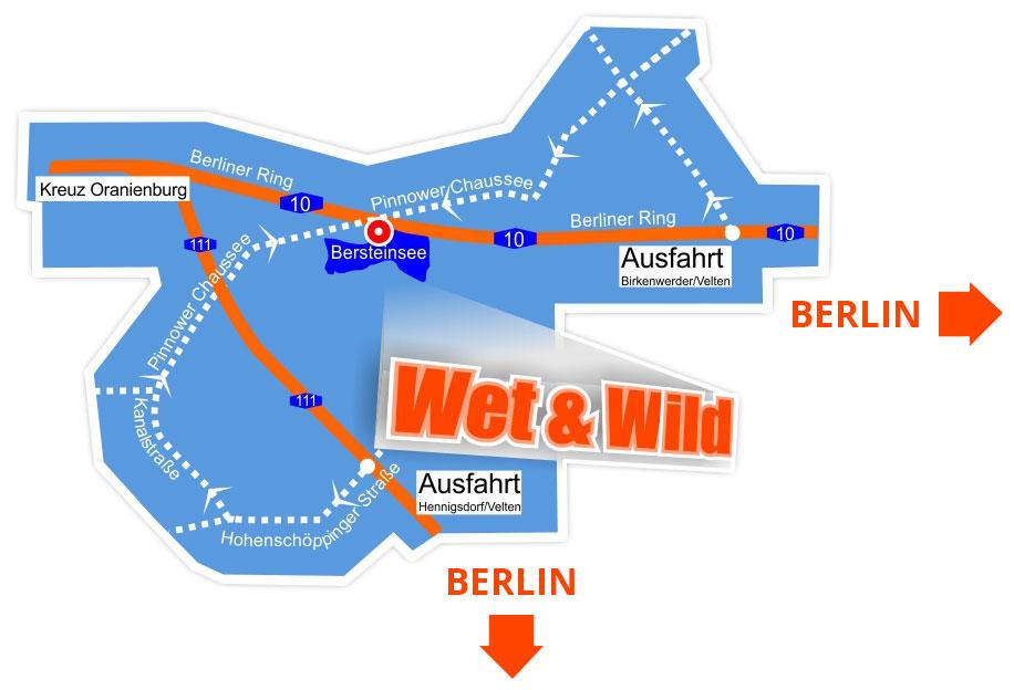 Anfahrt zu Wet & Wild, dem Wasserski- & Wakepark Berlin Velten.